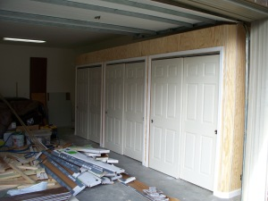Triple closets in garage